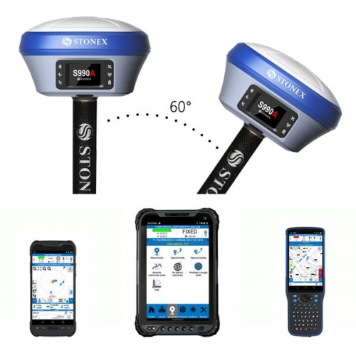 GNSS Stonex S990A a kontrolnou jednotkou - kompletná zostava
